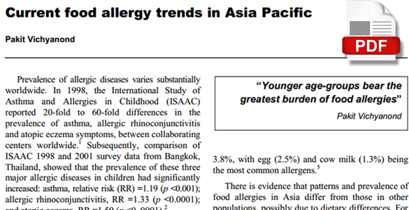 Current food allergy trends in Asia Pacific