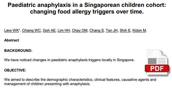 Paediatric anaphylaxis in s Singaporean children cohort : changing food allergy triggers over time.