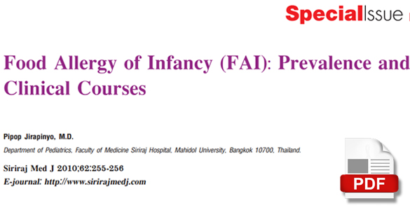 Food Allergy of Infancy (FAI) : Prevalence and Clinical Courses